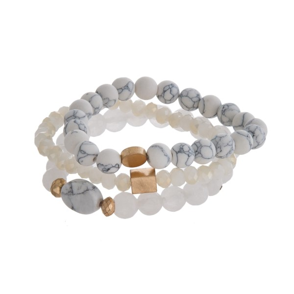 Wholesale three piece natural stone beaded bracelet set gold accents