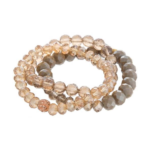 Wholesale three Dainty faceted bead stackable stretch bracelet