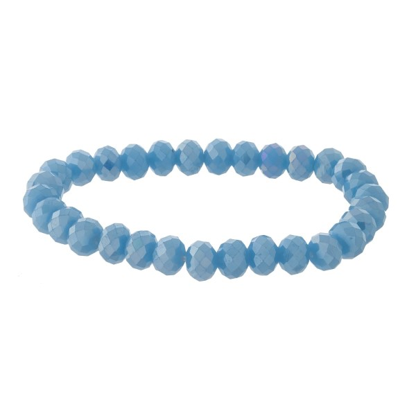 Wholesale dainty faceted bead stackable stretch bracelet