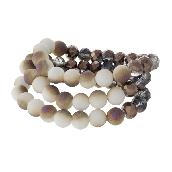 Wholesale stretch bracelet set faceted matte beads