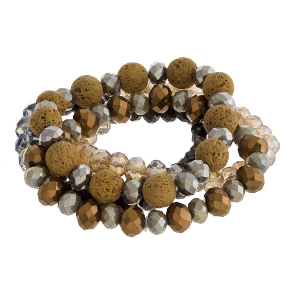 Wholesale faceted beaded stretch bracelet set