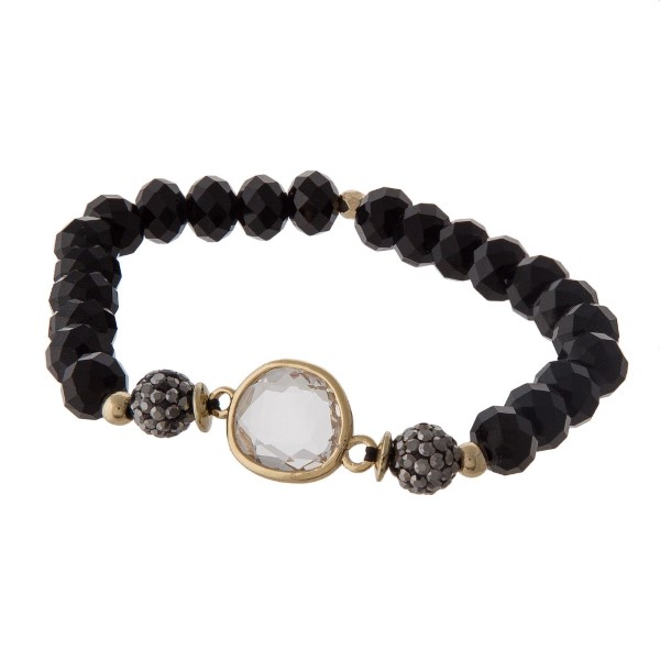 Wholesale stretch bracelet faceted beads natural stone