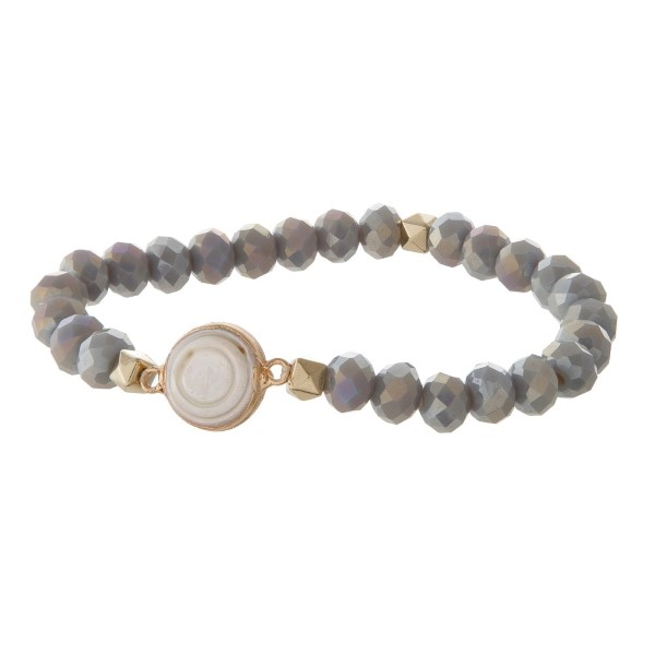 Wholesale faceted bead stretch bracelet pearl detail