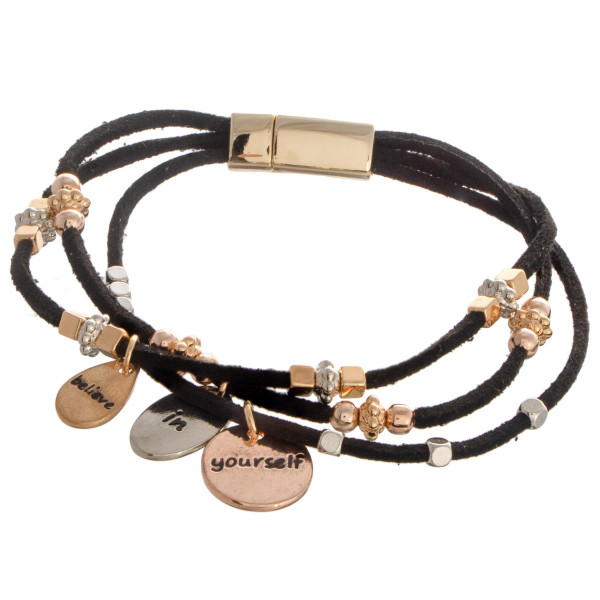 Wholesale faux leather bracelet beaded detail charms read Believe Yourself