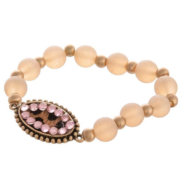Wholesale very cute beaded stretch bracelet includes animal printed pendant rhin