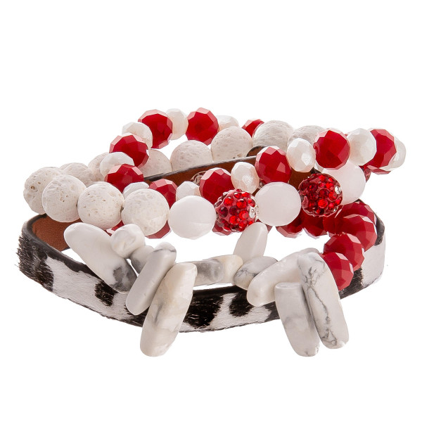 Wholesale gorgeous natural stone bead bracelet leather animal print snap bracele