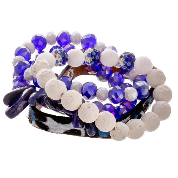 Wholesale gorgeous natural stone bead bracelet leather animal print snap bracele