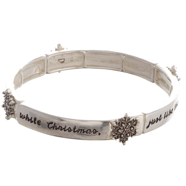 Wholesale silver bracelet snowflake detail I am dreaming white Christmas Just li