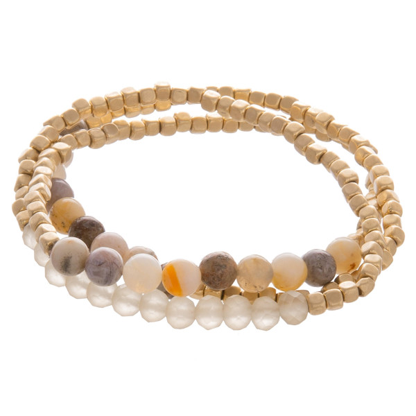 Wholesale layered gorgeous bracelet natural stone beads Approximate diameter