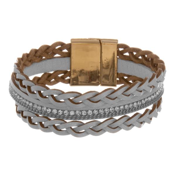 Wholesale leather multi string bracelet rhinestone wrist details Approximate