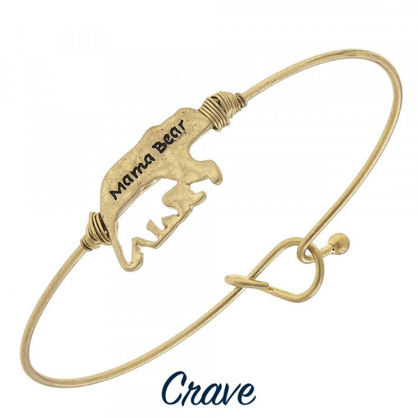 Wholesale gorgeous metal Mama Bear bracelet cut out cub Approximate diameter