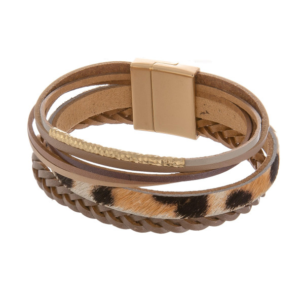 Wholesale leather animal print multi band magnetic bracelet Approximate