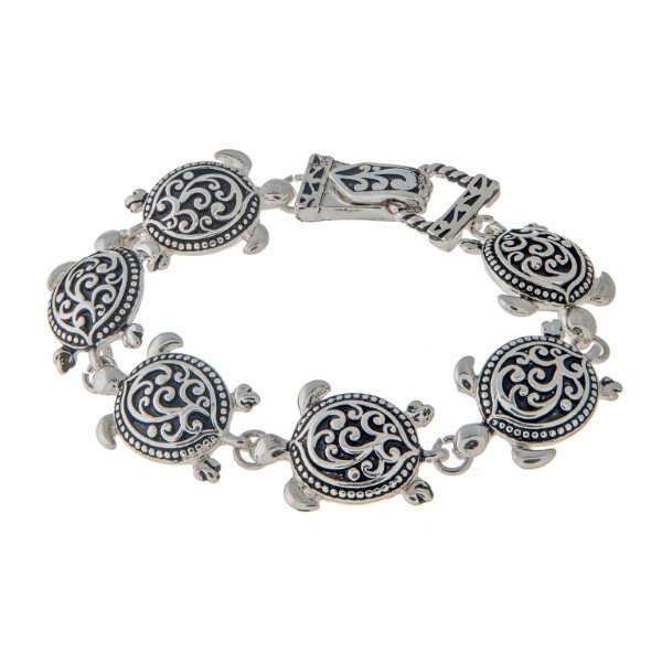Wholesale silver charm bracelet swimming sea turtles filigree