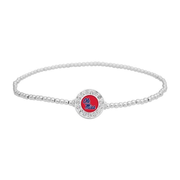 Wholesale officially licensed silver beaded stretch anklet Ole Miss charm czs