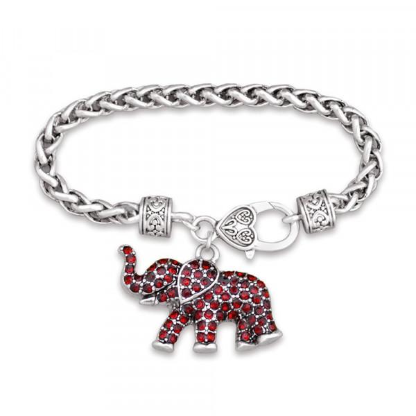 Wholesale inch Silver toned designer inspired lobster clasp bracelet inch eleph