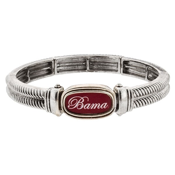 Wholesale officially licensed University ALabama silver stretch bracelet Bama sc