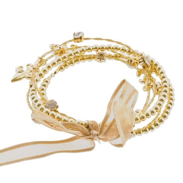 Wholesale gold Fleur de lis strand whimsical illusion bracelet