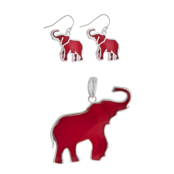 Wholesale silver pendant earring set displaying crimson epoxy elephants
