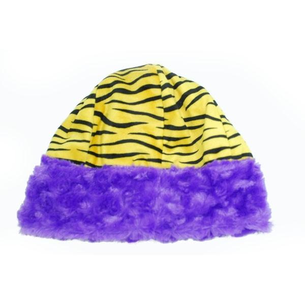 Wholesale adult yellow black tiger stripe beanie hat purple faux fur trim Revers
