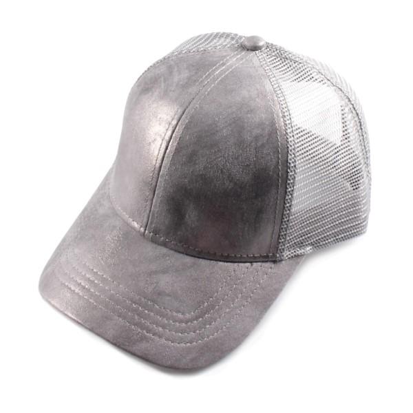 Wholesale c C Brand BA shimmering metallic faux leather baseball cap mesh back A