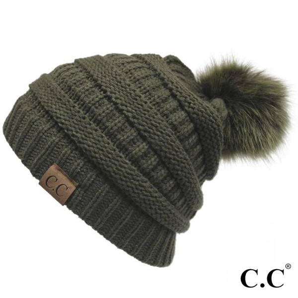 Wholesale c C YJ POM Solid ribbed hat matching faux fur pom Acrylic One fits mos