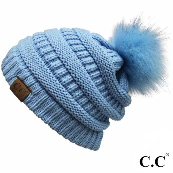 Wholesale yJ POM Cable knit original C C beanie self color faux fur pom pom acry