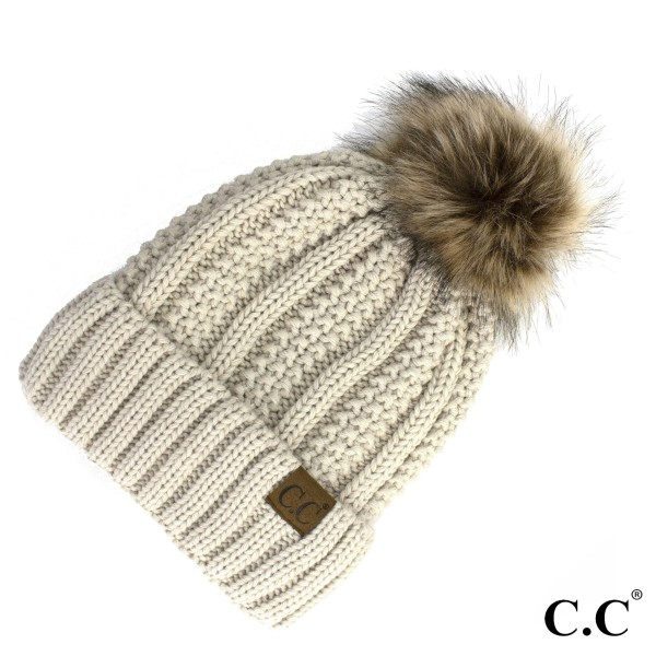 Wholesale yJ Cable knit fuzzy lined C C Beanie faux fur pom acrylic