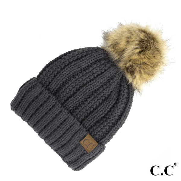 Wholesale c C YJ Fuzzy lined beanie faux fur pom Acrylic One fits most