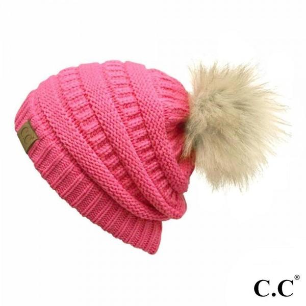 Wholesale hAT Cable knit original C C beanie faux fur pom pom acrylic