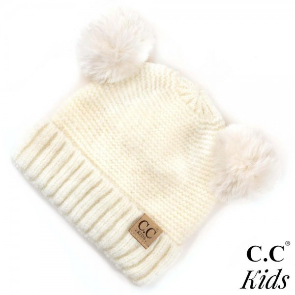 Wholesale kID Solid color chunky cable knit C C Beanie faux fur double pom pom I