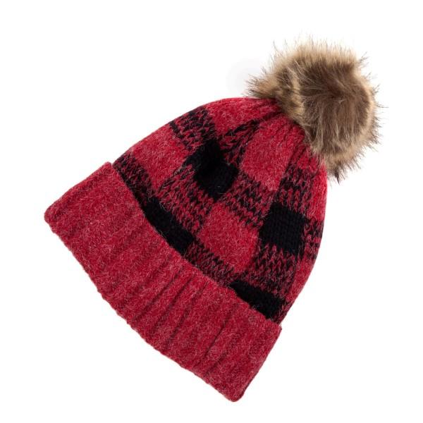Wholesale black red checked fleece lined toboggan brown fur pom pom