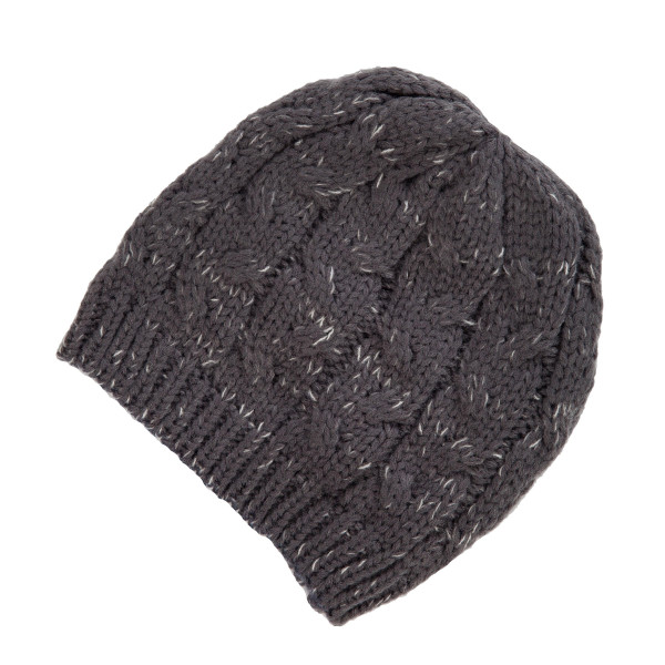 Wholesale gray cable knit beanie acrylic