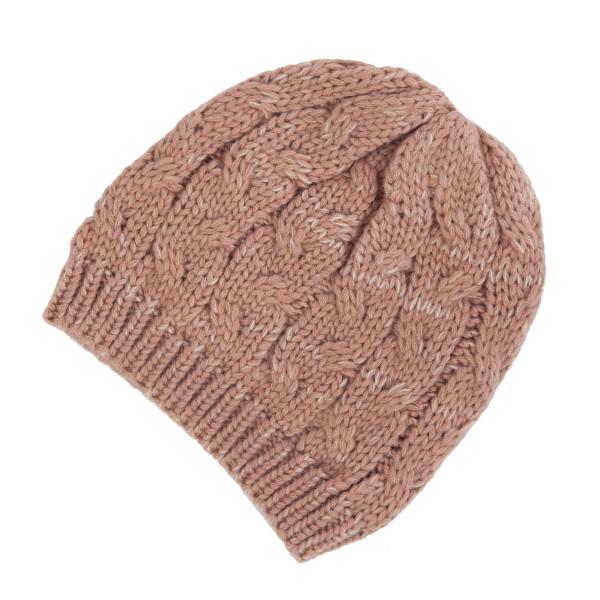 Wholesale mauve cable knit beanie acrylic