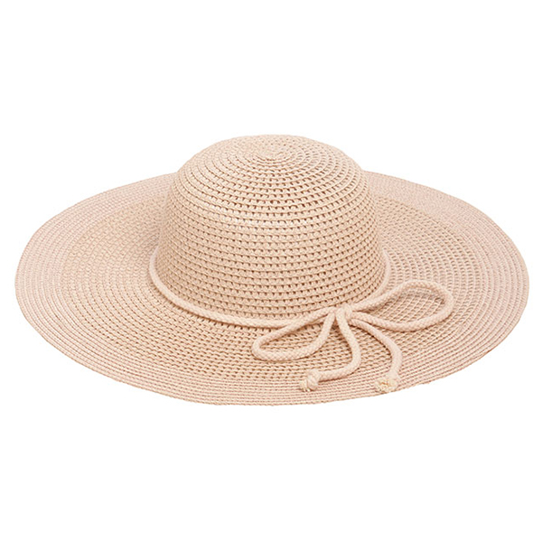 Wholesale blush pink brimmed hat bow accent paper polyester Hat brim diameter