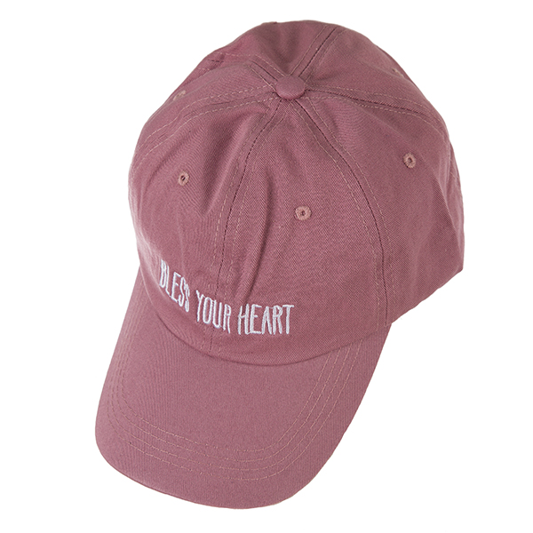 Wholesale mauve hat velcro adjustable back embroidered Bless Heart