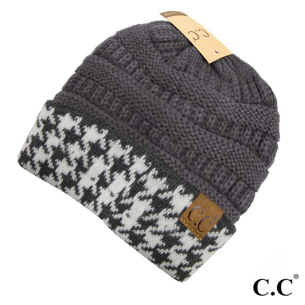 Wholesale c C HAT Houndstooth ribbed beanie Acrylic One fits most