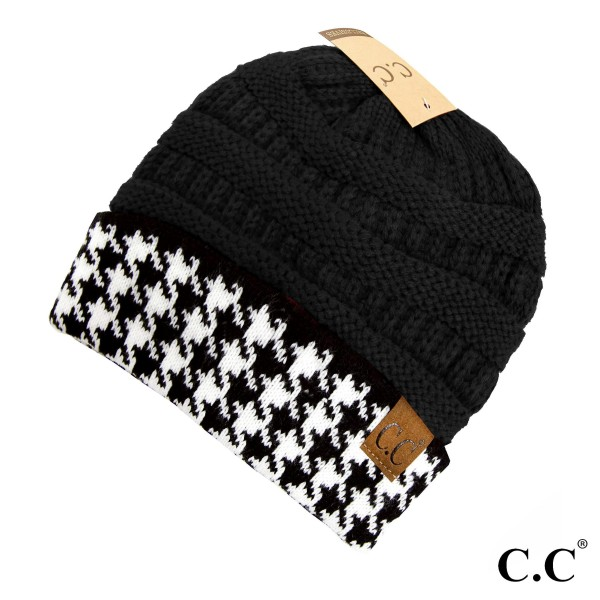 Wholesale hat Knit C C beanie houndstooth cuff acrylic