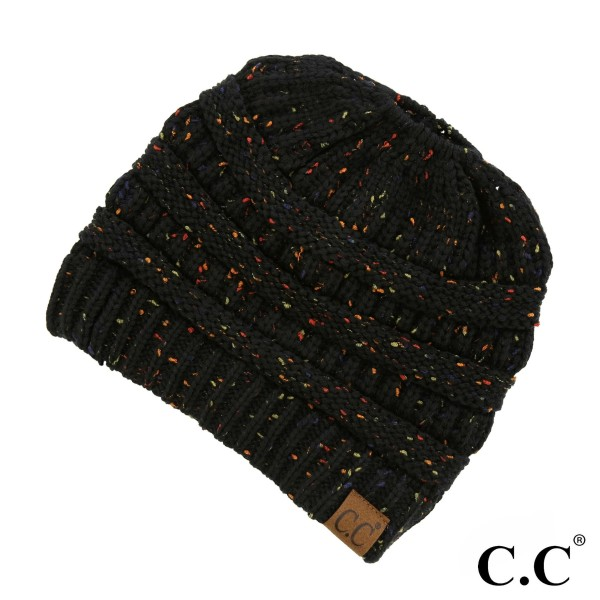 Wholesale c C MB Ribbed confetti messy bun knit beanie Acrylic One fits most