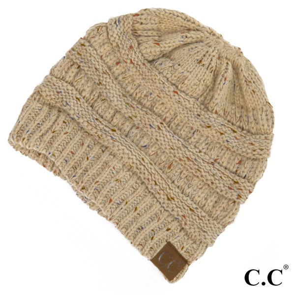Wholesale hAT Cable knit confetti print C C beanie acrylic Matches MB G SF