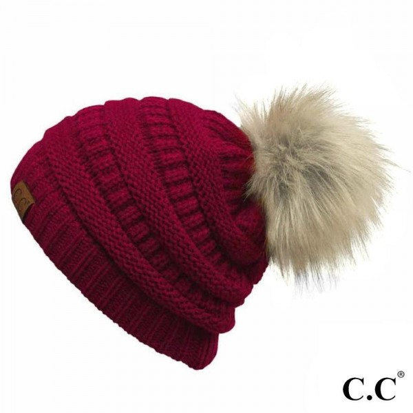 Wholesale c C HAT Solid ribbed beanie faux fur pom Acrylic One fits most