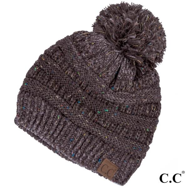 Wholesale yJ POM Cable knit confetti print C C beanie pom pom acrylic