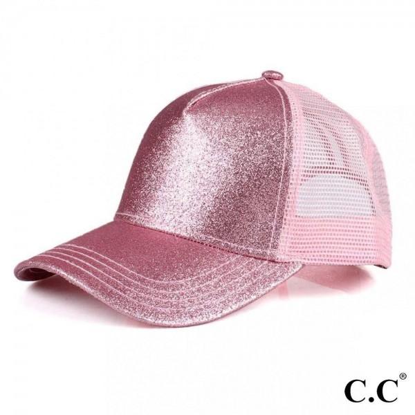 Wholesale c C BT Glitter trucker ponytail cap mesh back Polyester Adjustable vel