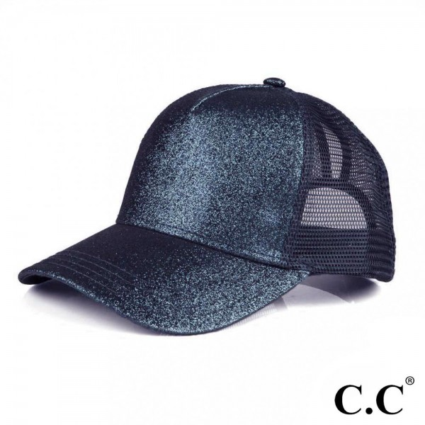 Wholesale c C BT Glitter trucker ponytail cap mesh back Polyester Adjustable vel