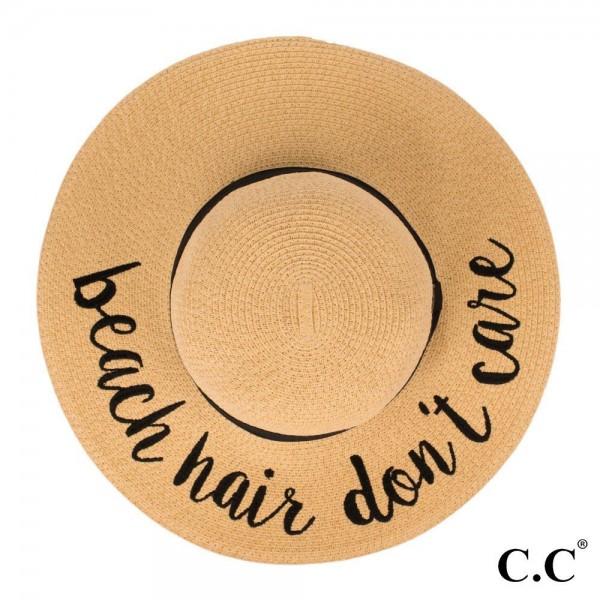 Wholesale c C ST brim floppy beach hat Beach Hair Don t Care hat crushable packa