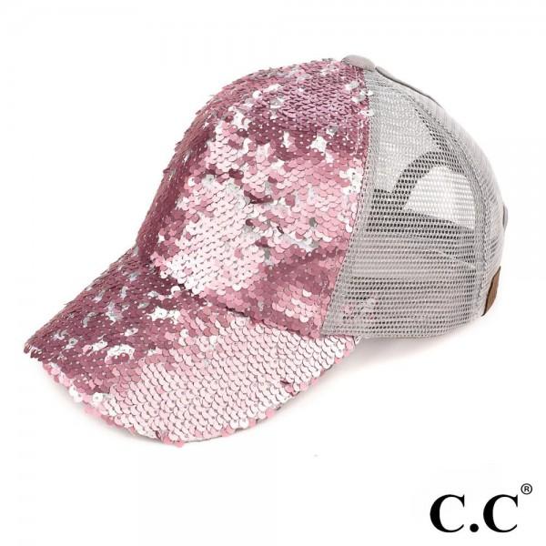 Wholesale c C Brand Pony Cap BT Reversible sequin ponytail baseball cap mesh bac