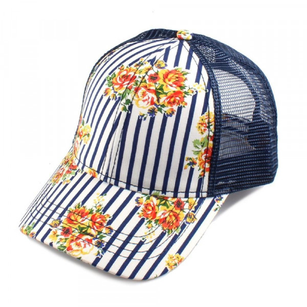 Wholesale c C Brand BT striped floral baseball cap mesh back Adjustable velcro b