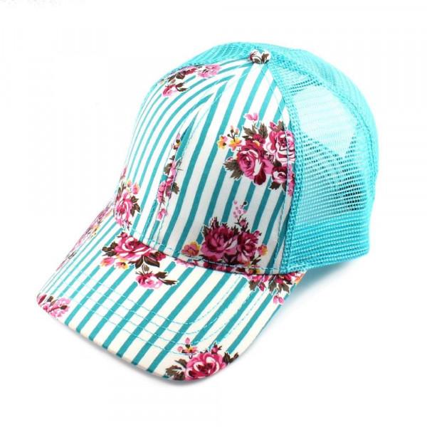 Wholesale c C Brand BT striped floral baseball cap mesh back Adjustable velcro b