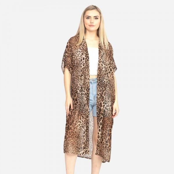 Wholesale brown animal print kimono dimensions polyester