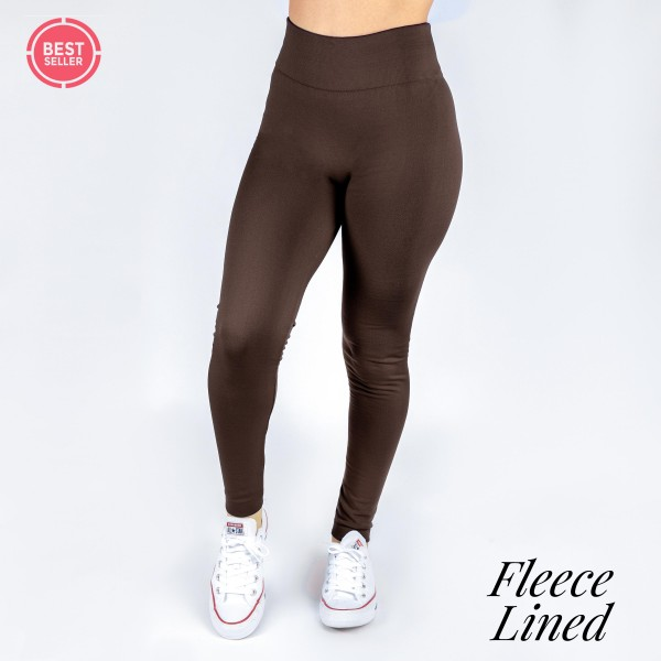 Wholesale dark brown fleece lined leggings One fits most full winter weight Offe