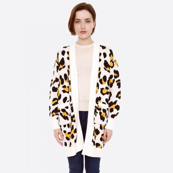 Wholesale leopard print knit cardigan front pocket details One fits most Polamid